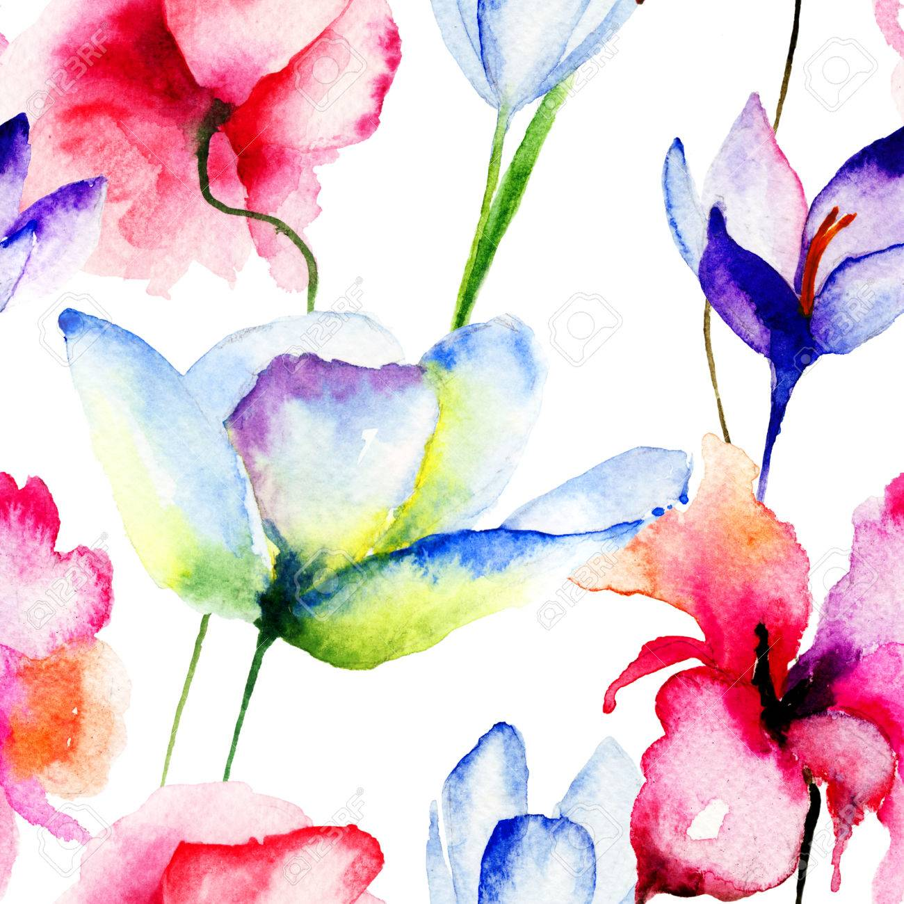 Seamless Wallpaper With Spring Flowers Watercolor Illustration