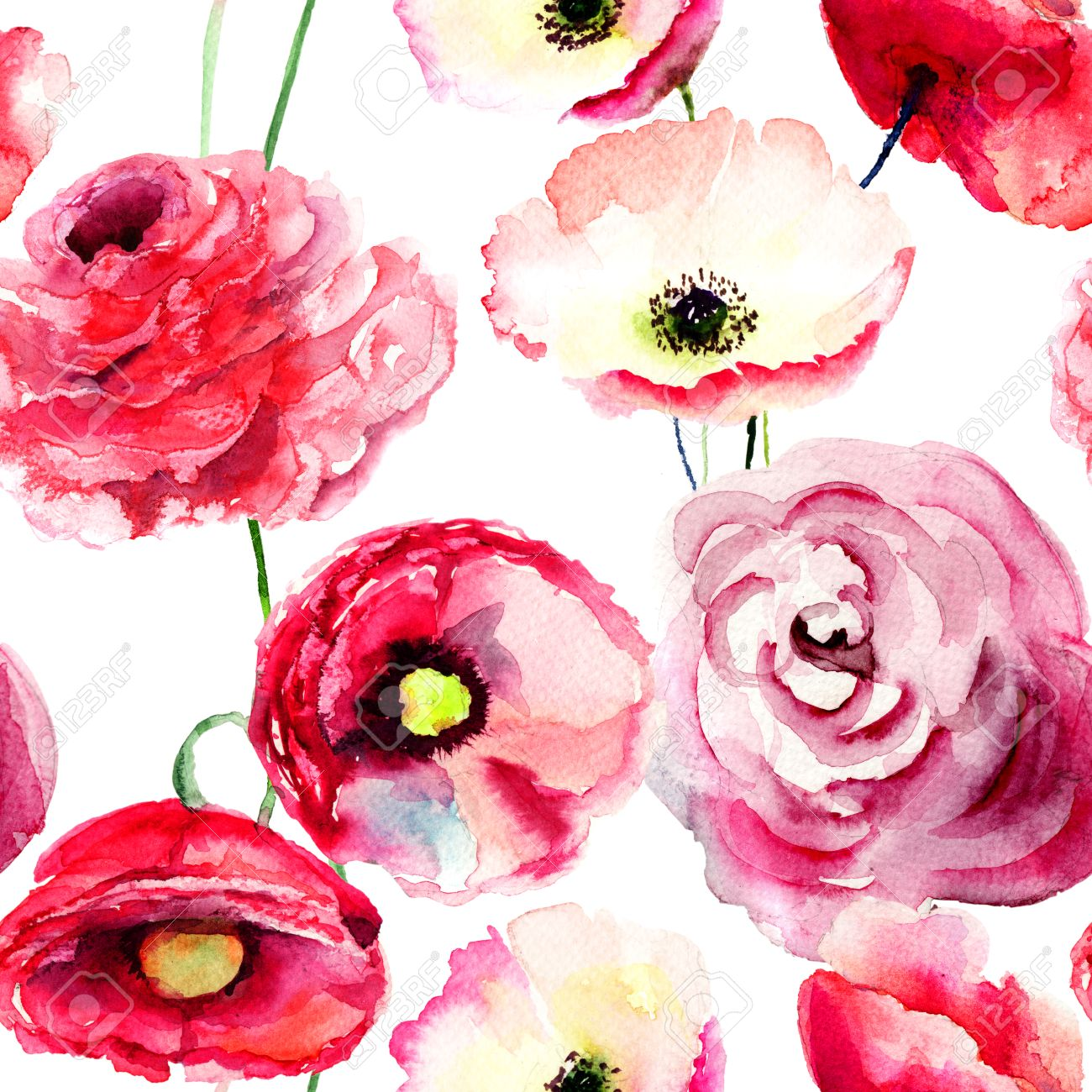 Seamless Wallpaper With Colorful Red Flowers Watercolor