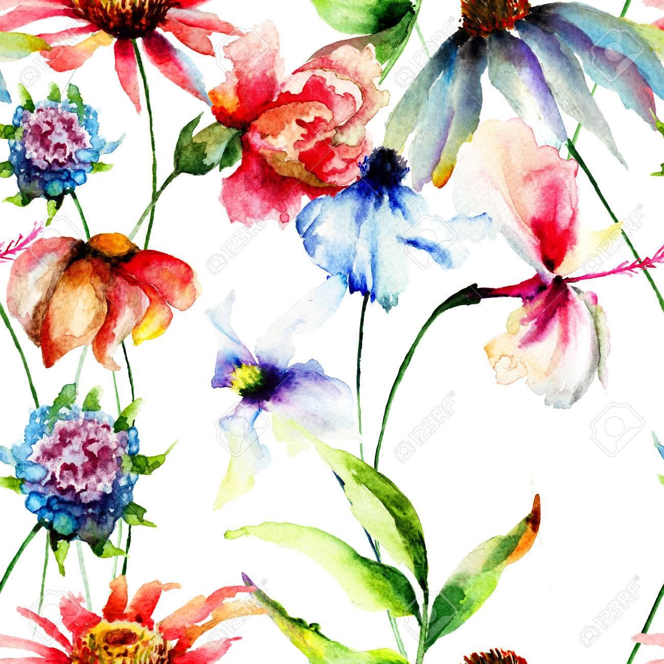 夏の花の水彩イラストとシームレスな壁紙 の写真素材 画像素材 Image