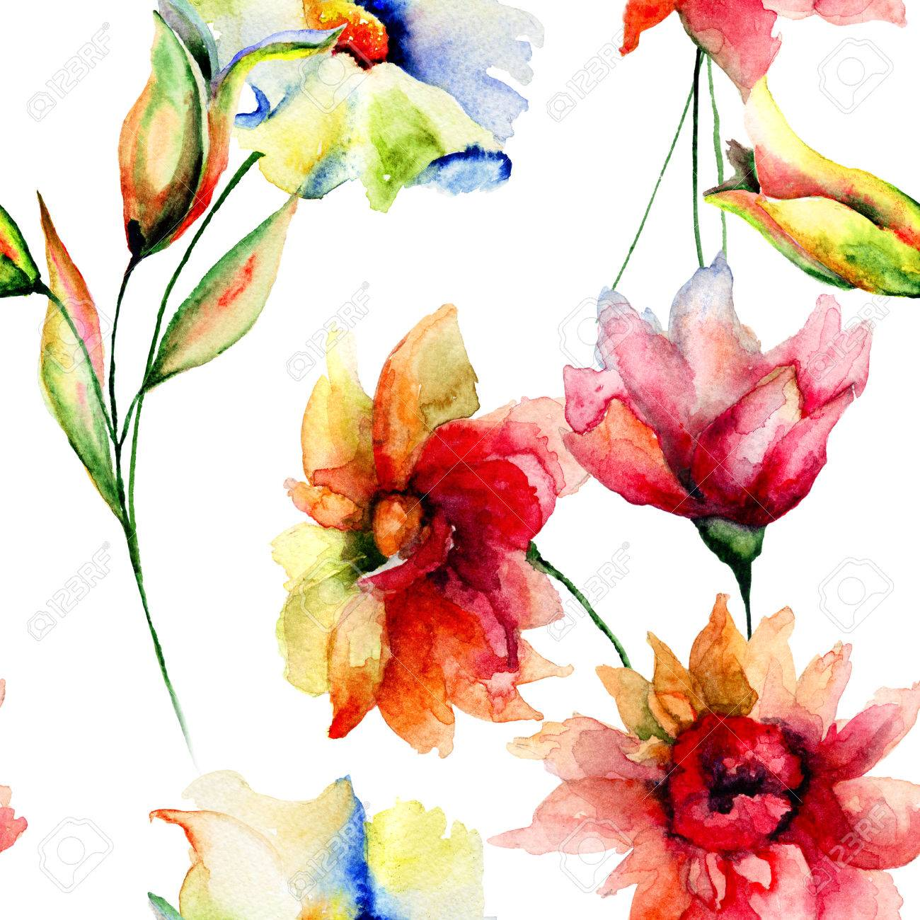 Seamless Wallpaper With Colorful Flowers, Watercolor Illustration ...