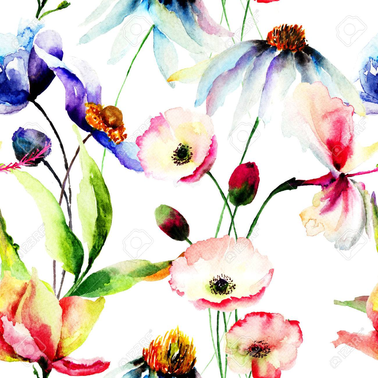 Seamless wallpaper with wild flowers, watercolor illustration Stock Illustration - 36463900