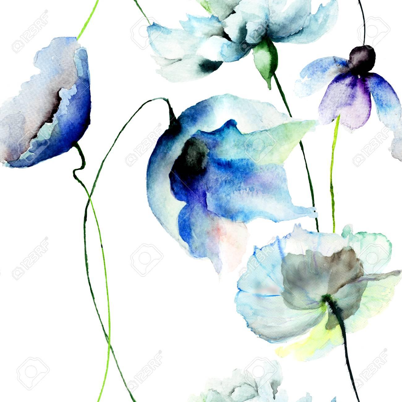 Fondo De Pantalla Transparente Con Flores Azules Ilustracion