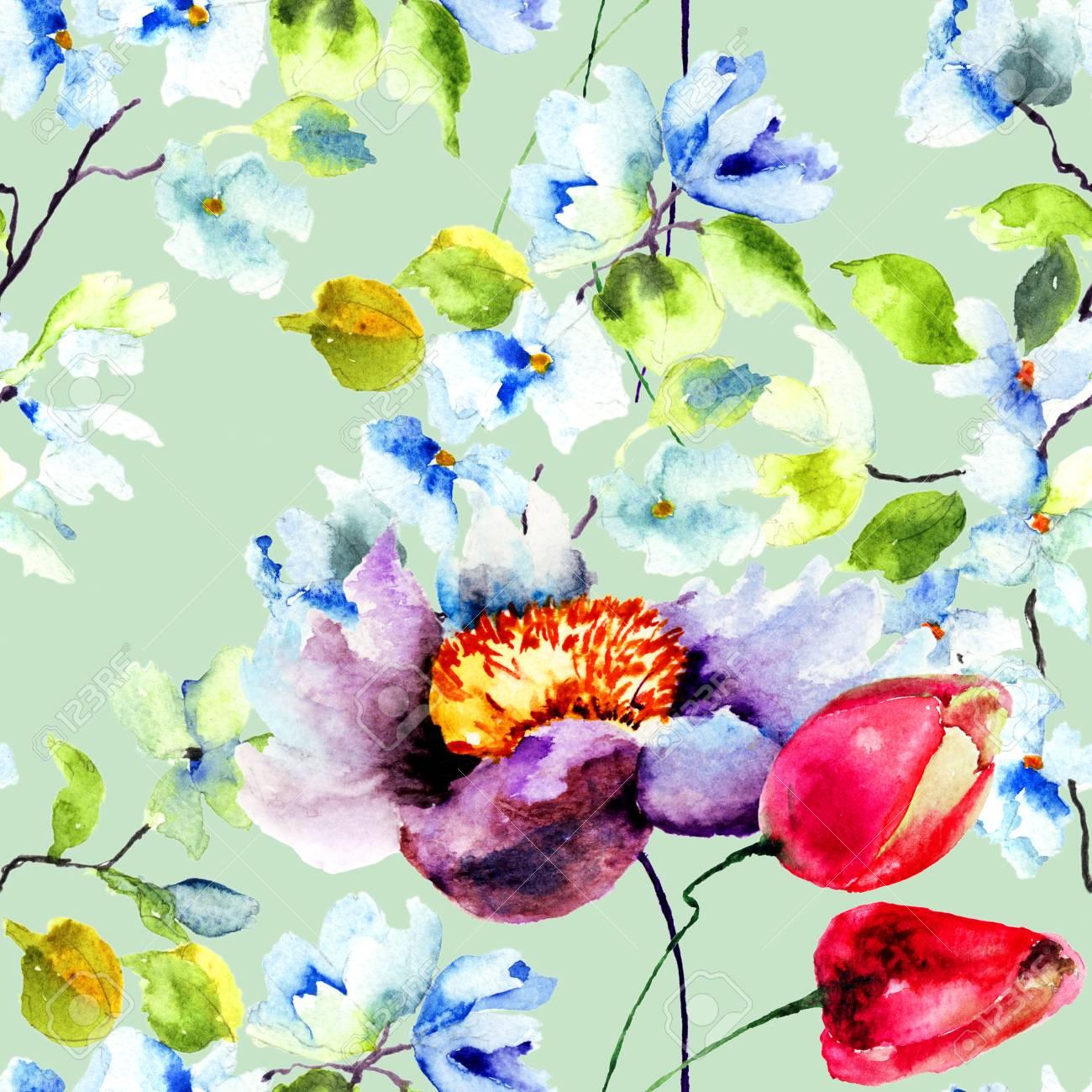 春の花 水彩イラストでシームレスな壁紙 の写真素材 画像素材 Image
