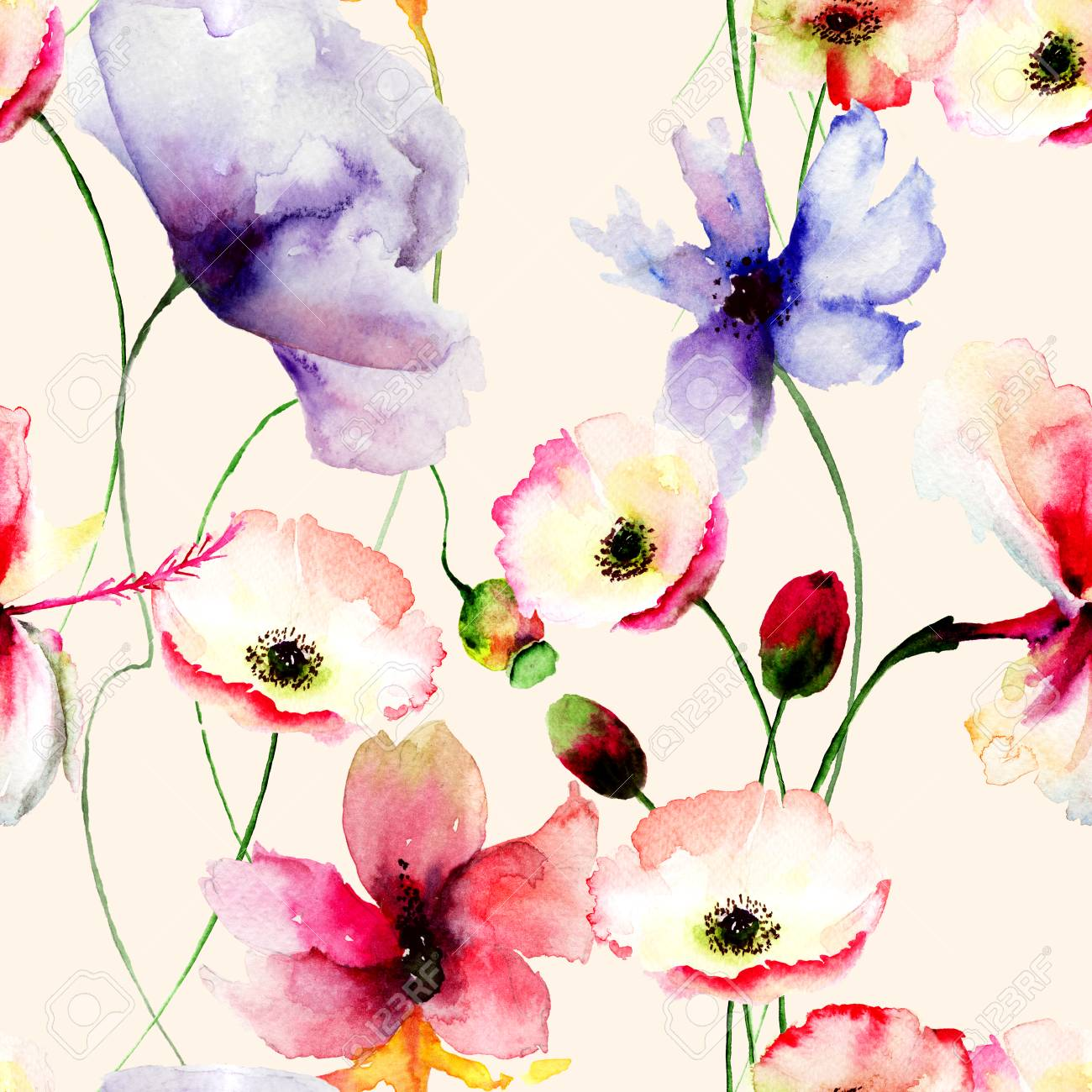 Seamless Wallpaper With Spring Flowers Watercolor Painting