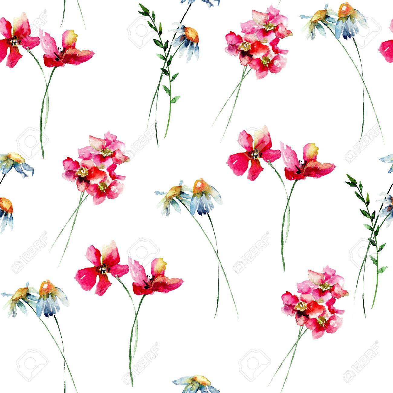 Fleurs Stylisées seamless wallpaper avec des fleurs stylisées sauvages, illustration