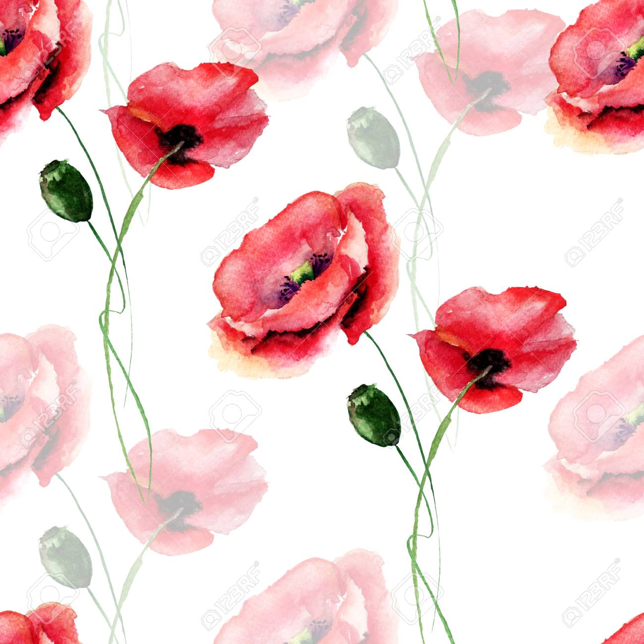 Seamless Pattern With Poppy Flower Watercolour Illustration Stock