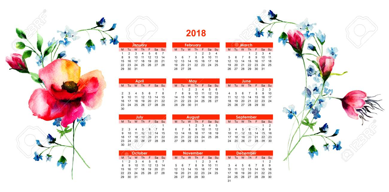 Calendario Fiori.Calendario 2018 Con I Fiori Di Estate Originale Illustrazione Dell Acquerello