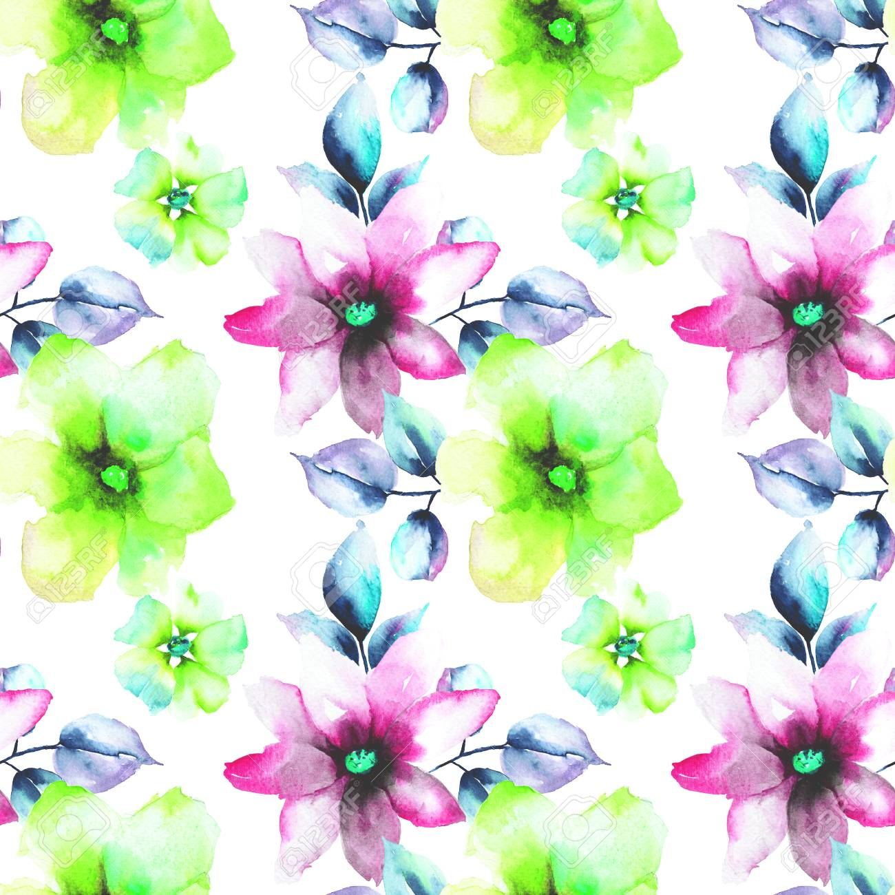 Seamless Wallpaper With Wild Flowers Watercolor Illustration