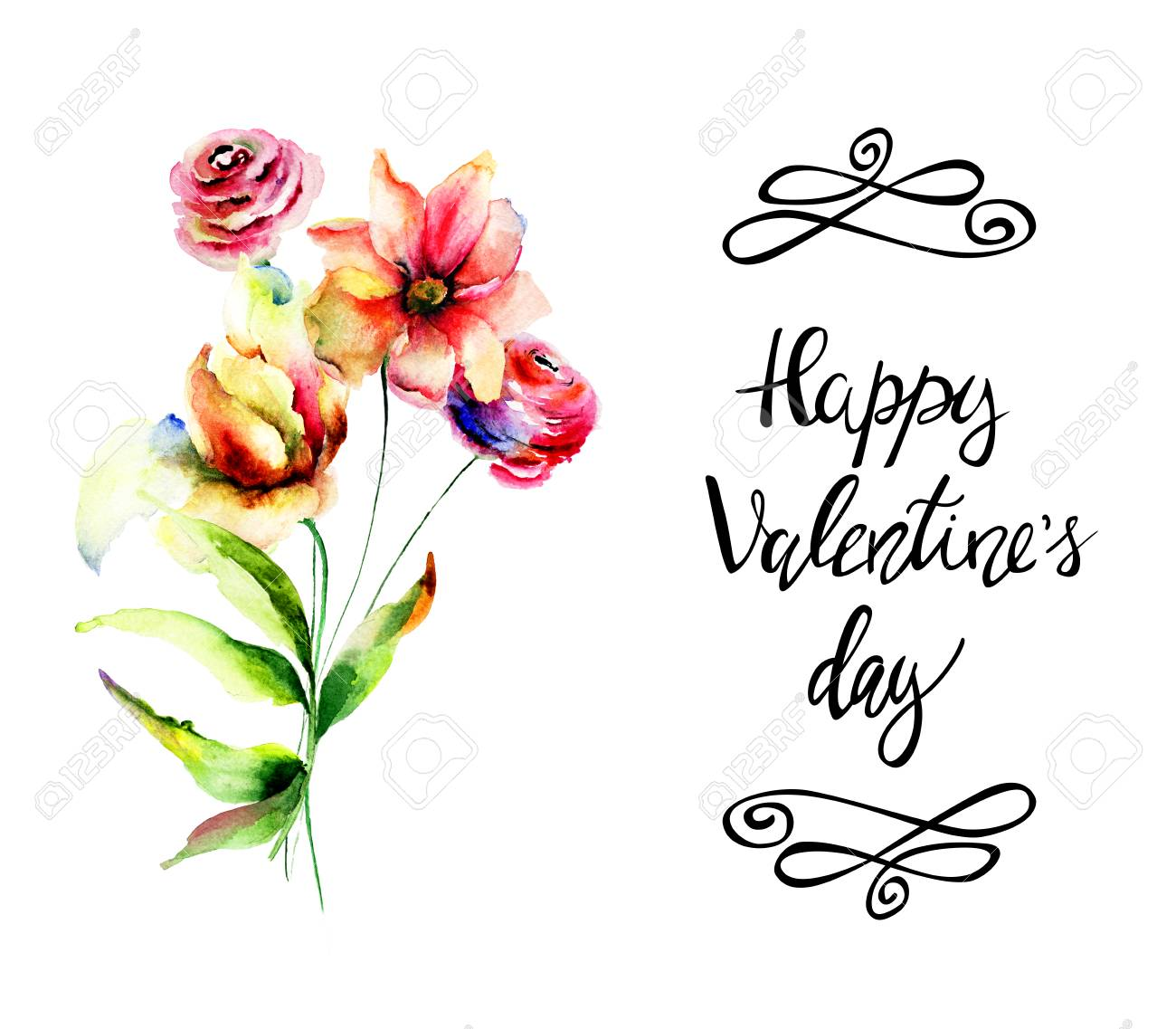 decorative spring flowers with title happy valentineâ s day
