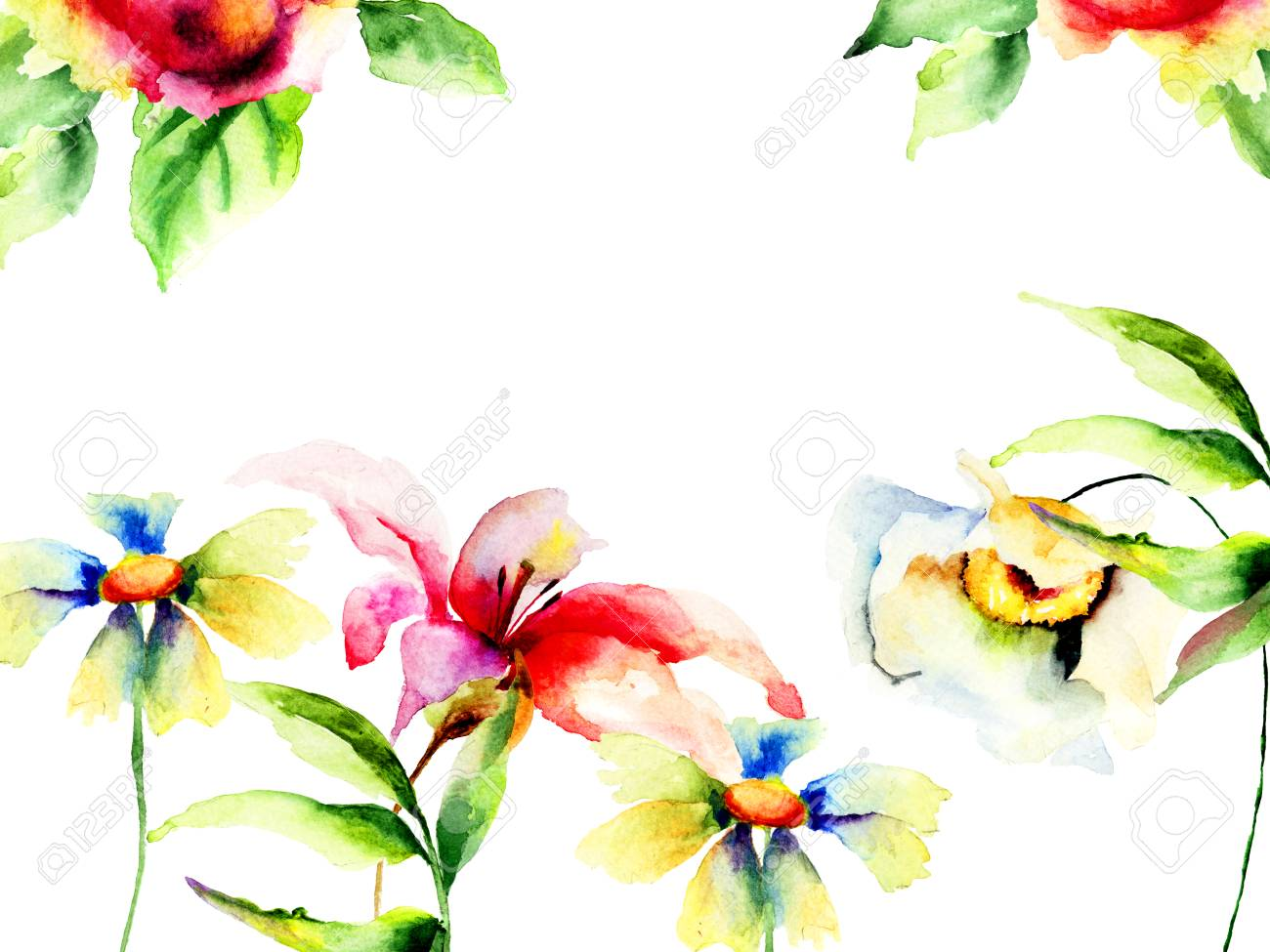 spring flowers watercolor painting template for greeting card