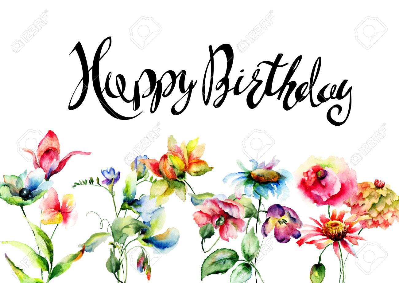 Wild Flowers With Title Happy Birthday Watercolor Illustration