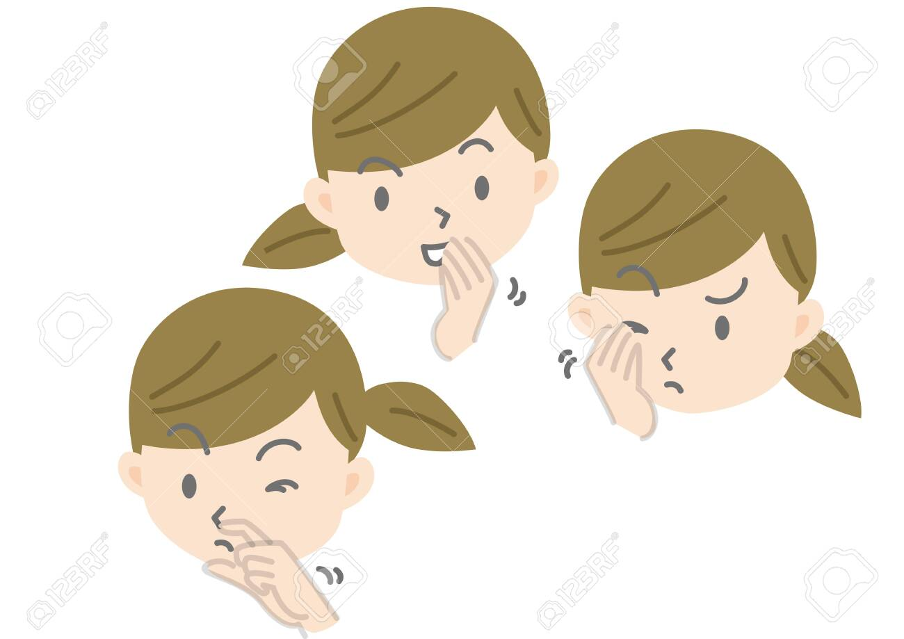 Illustration of Female Face Touching Eyes, Nose and Mouth with Hands - 141536687