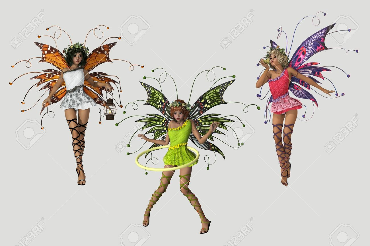 3 cute fairies in different poses and several colored dresses