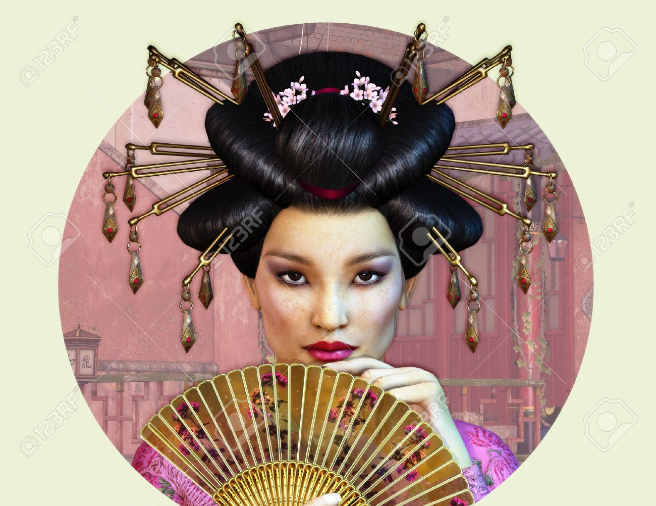 a portrait of a young asian woman with traditional hairstyle stock