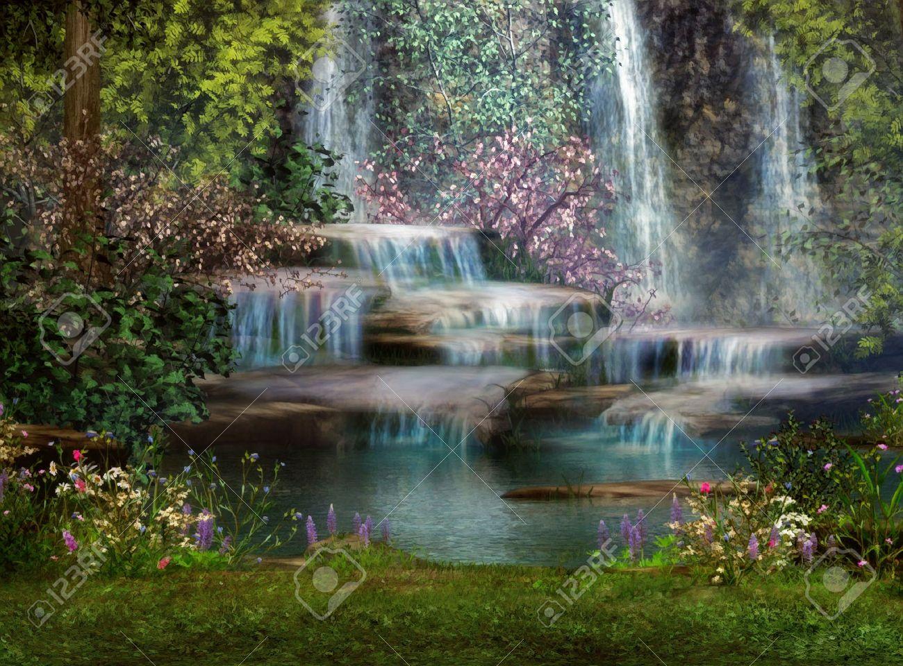 Magical Waterfall Painting by Paul Van Scott