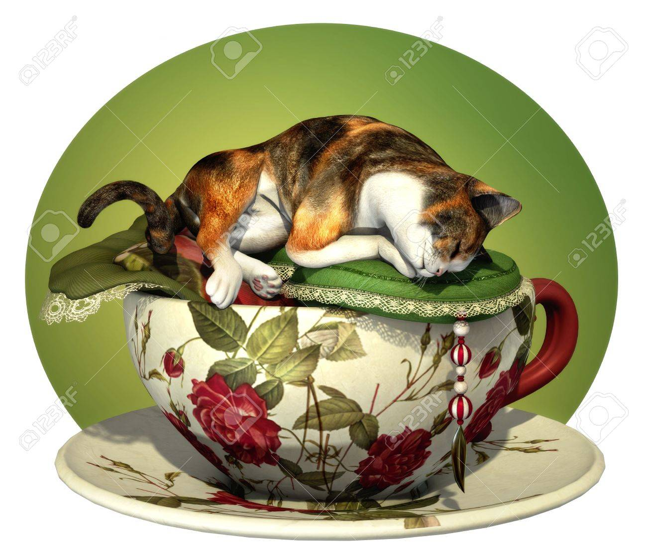 a decorative illustration with a sleeping cat Stock Photo - 13896176