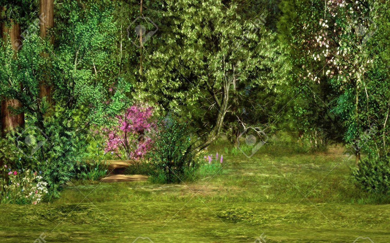 a magical landscape with trees, flowers and trees Stock Photo - 13896602