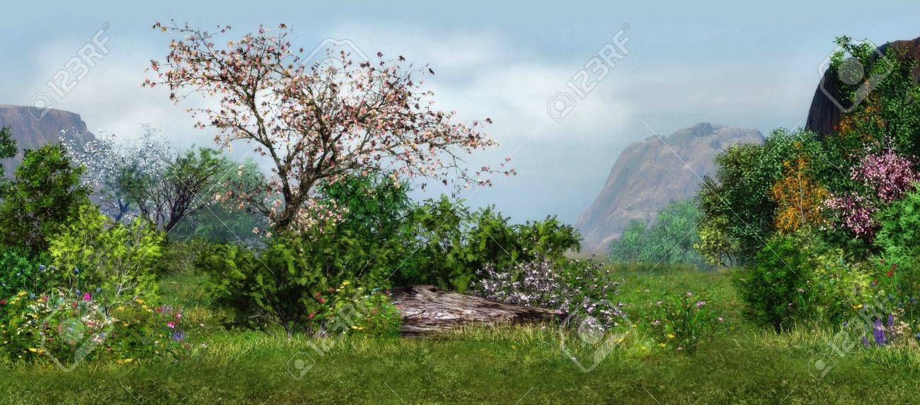 a magical landscape with cherry tree, flowers and trees - 13896948