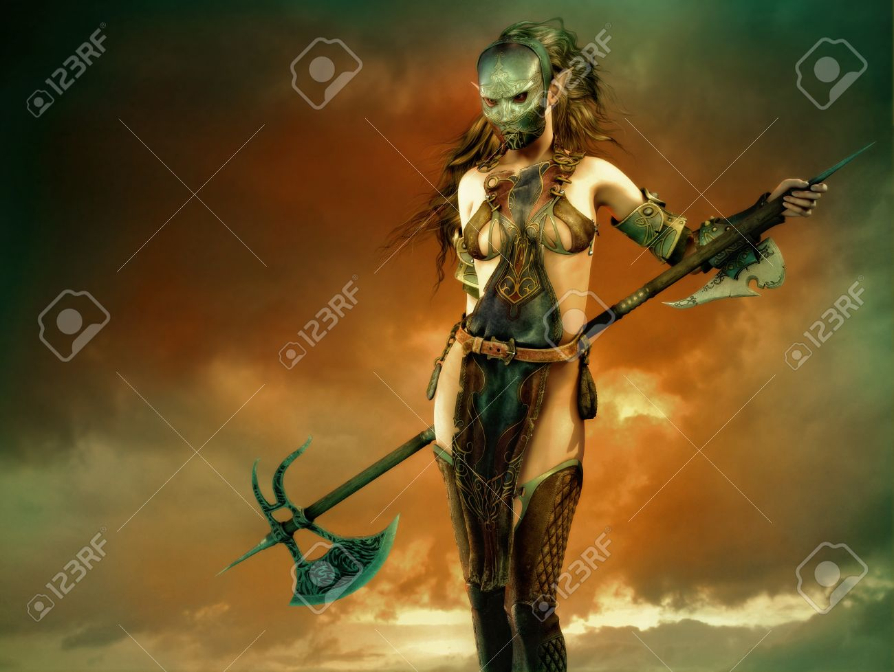 3d  fantasy computer graphics of a woman with a iron mask and a long battle axe Stock Photo - 21636435