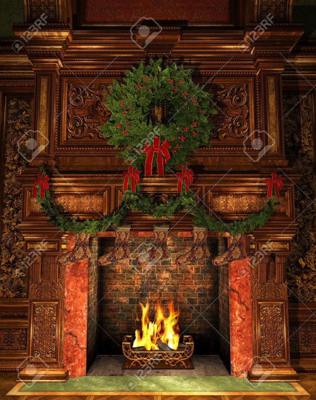 3D-grafik I En öppen Spis Dekorerad Till Jul Med Holly Krans ...