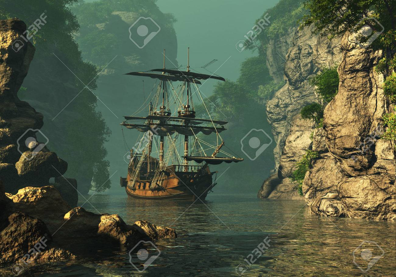 a sailing ship of the 16th Century anchored between high rocks in shallow waters, 3d computer graphics Stock Photo - 26436901