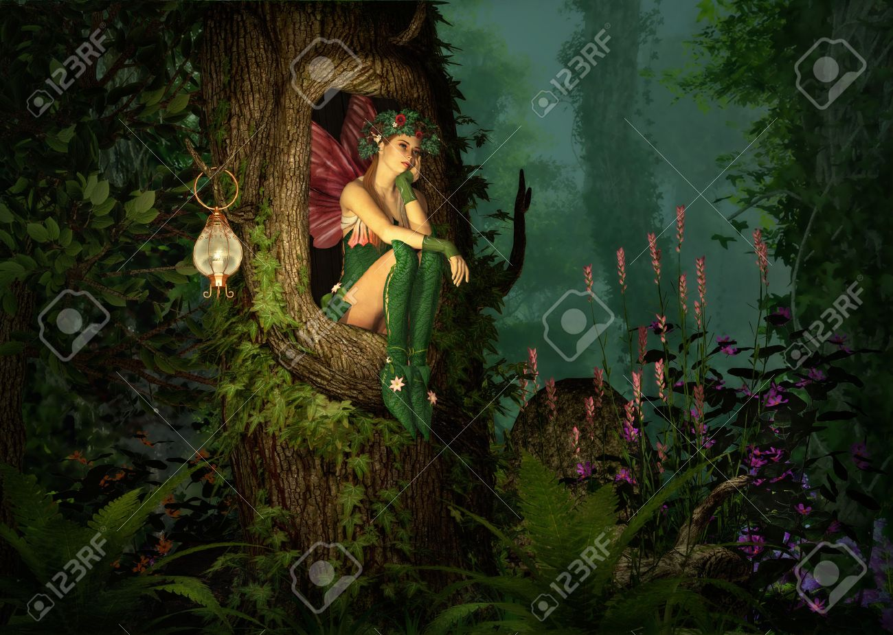 3d computer graphics of a fairy with a wreath on her head sitting