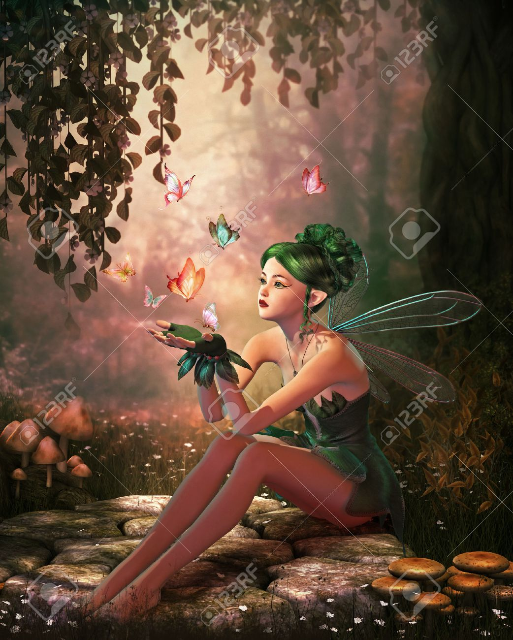 3d computer graphics of a fairy and flying butterflies