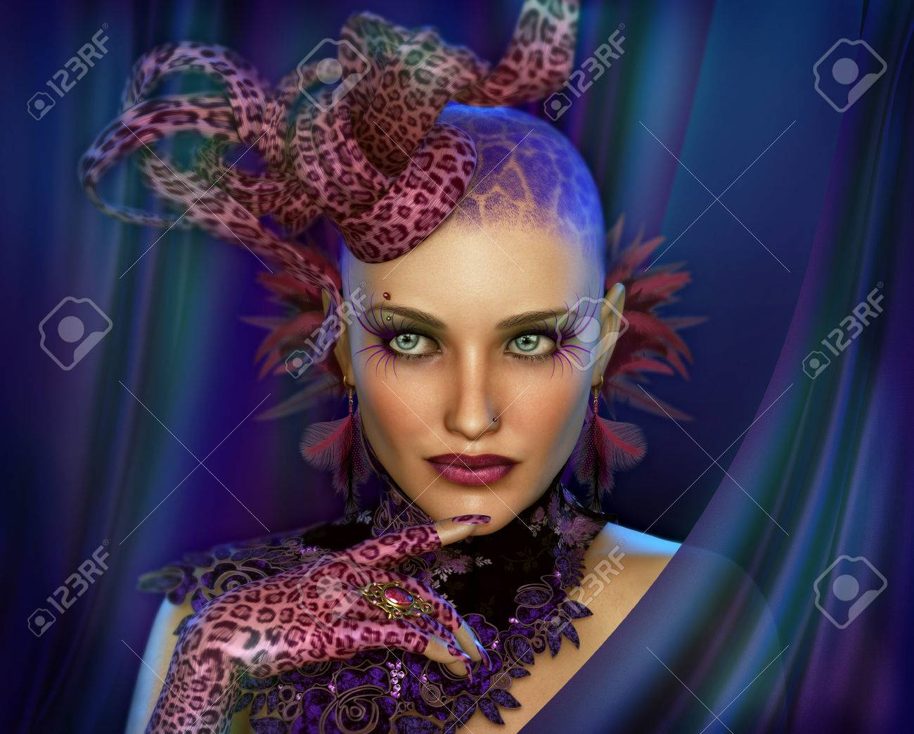 3D computer graphics of a Portrait of a Lady with Animal Print Fascinator  and Gloves Stock af45a845823