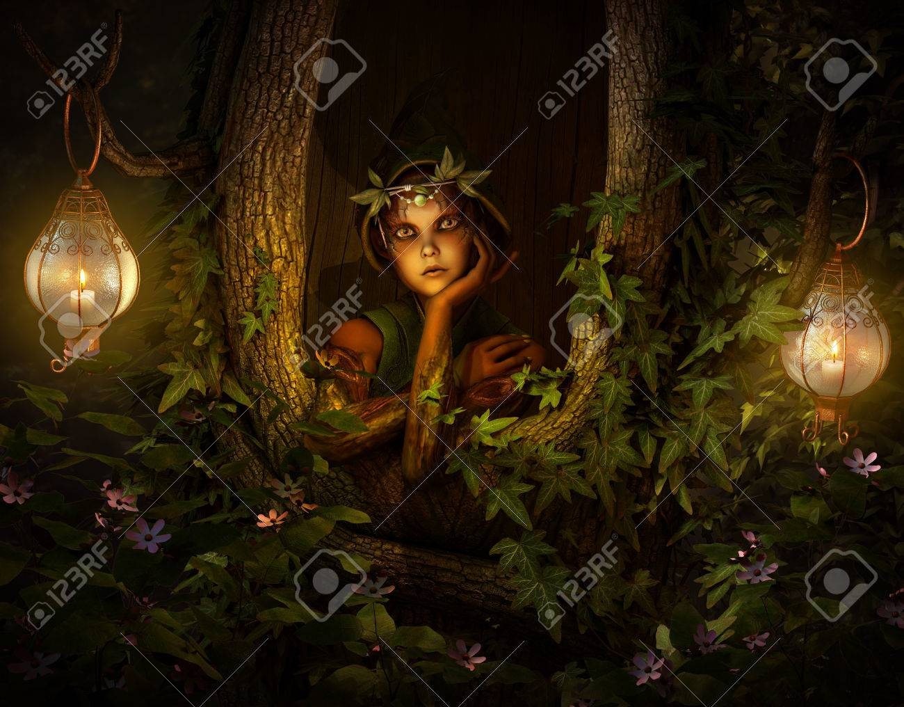 3d computer graphics of a pixie who looks out of a hollow tree