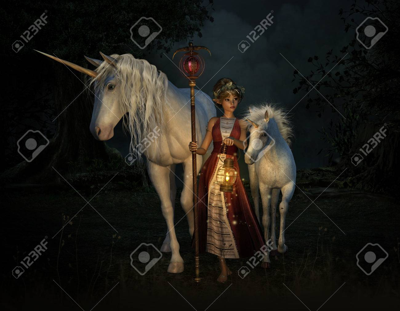 3d computer graphics of a girl with staff and lantern and two