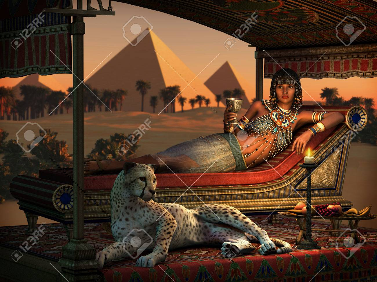 3d computer graphics of an ancient Egyptian lady and a tame cheetah - 70871995