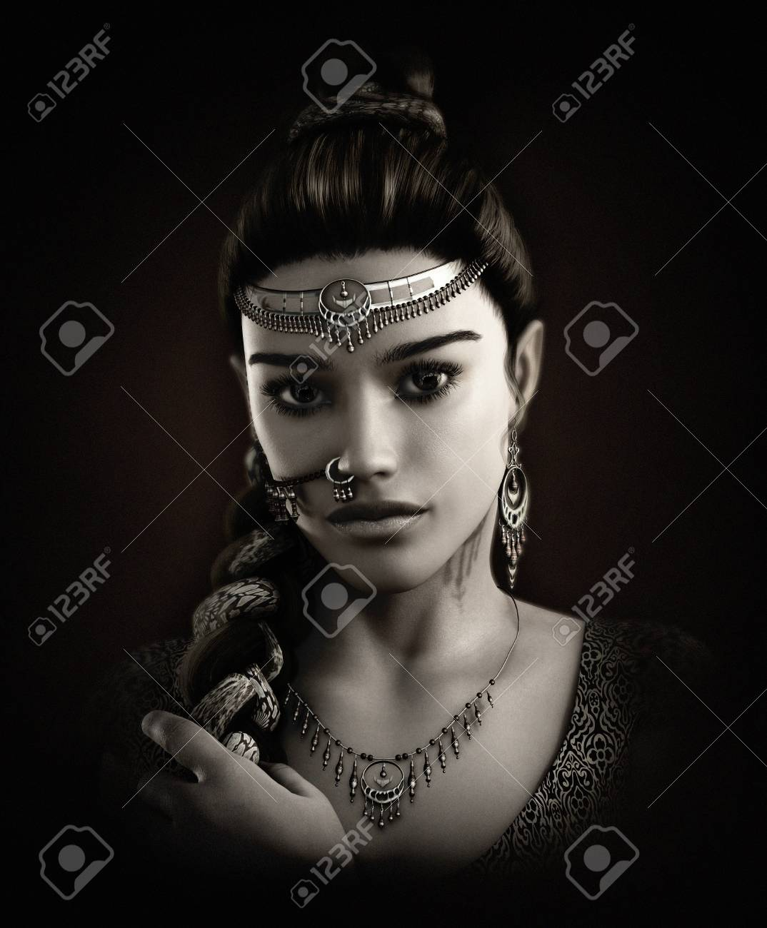 3d computer graphics of a portrait of a young lady with an indian..