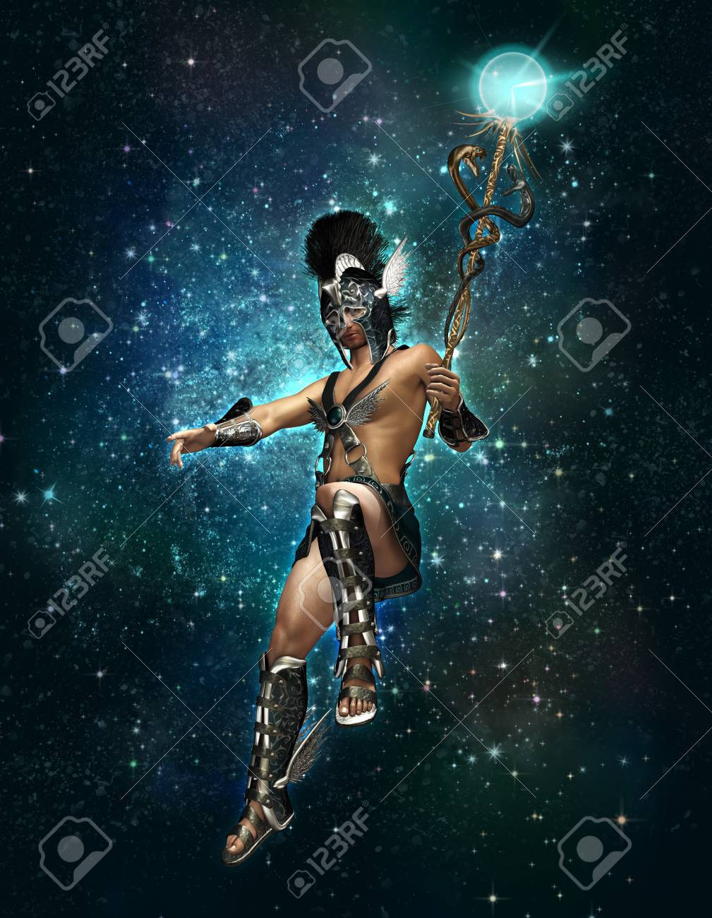 3d computer graphics of a depiction of Hermes at night