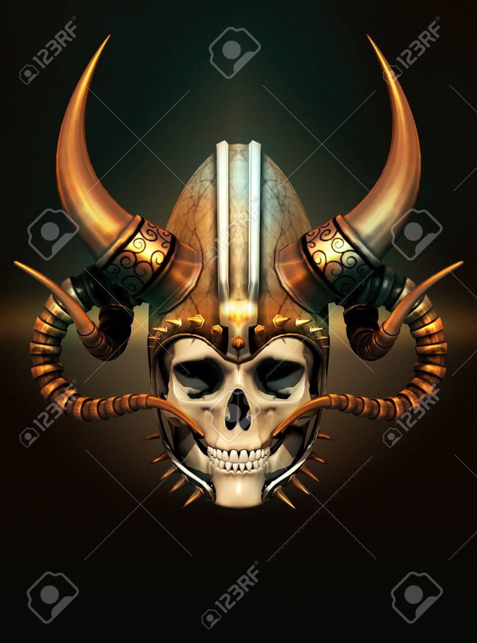 3d computer graphics of a skull with a helmet with horns