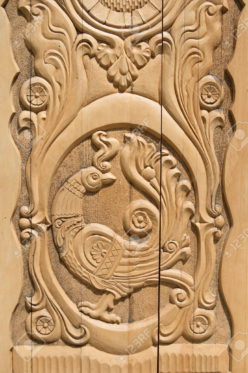 Wooden firebird russian door pattern stock photo picture and