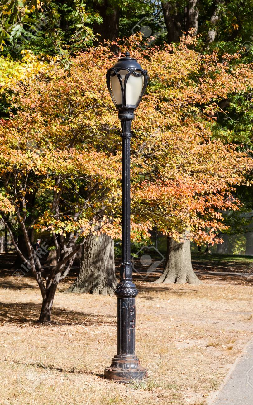 A Lamp Post In Central Park New York Is Pictured Against Autumn