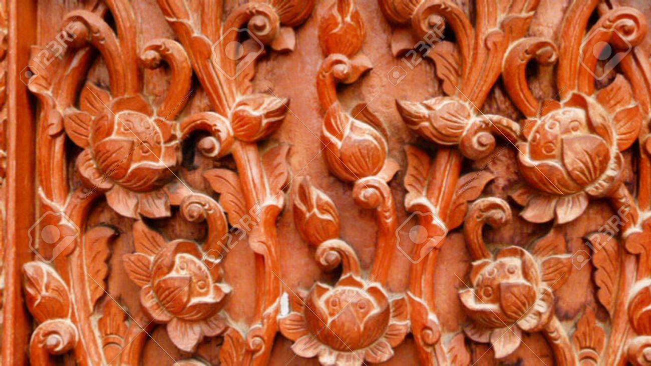 Thai pattern wood carving on the temple s windows Stock Photo - 15805731