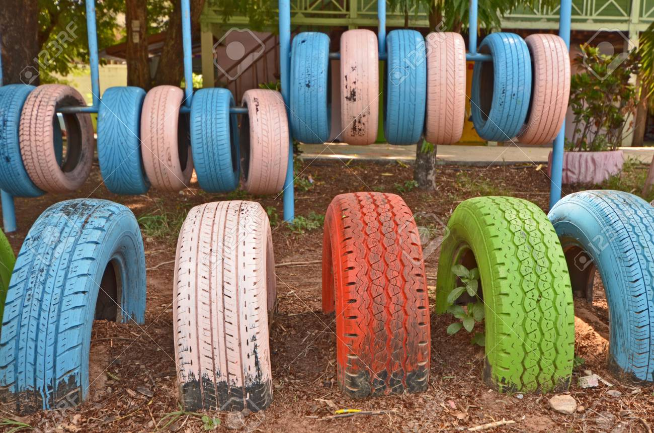 Colored Old Tires For Brain Base Leaning Practice Stock Photo