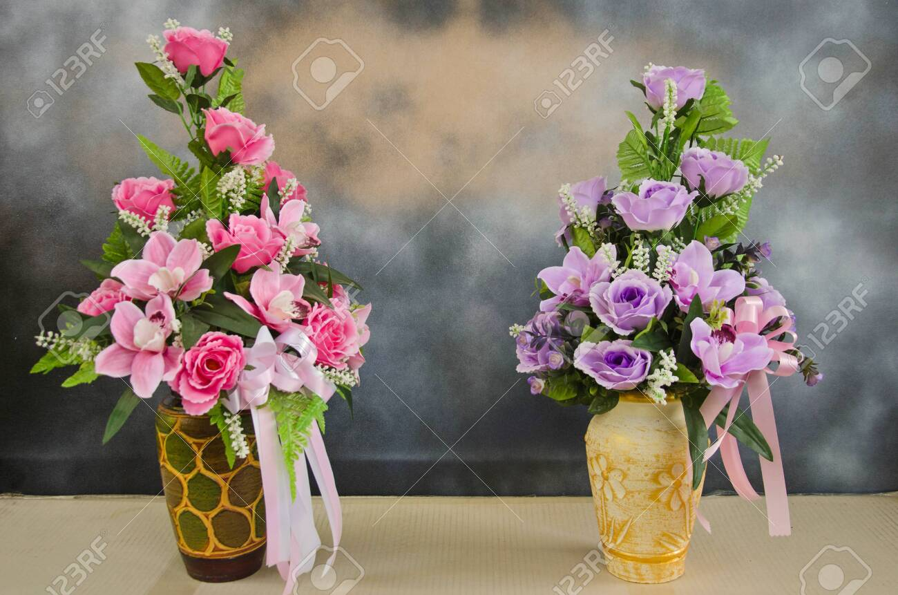 Beautiful Artificial Flower Vase On The Floor Stock Photo Picture And Royalty Free Image Image 129808090