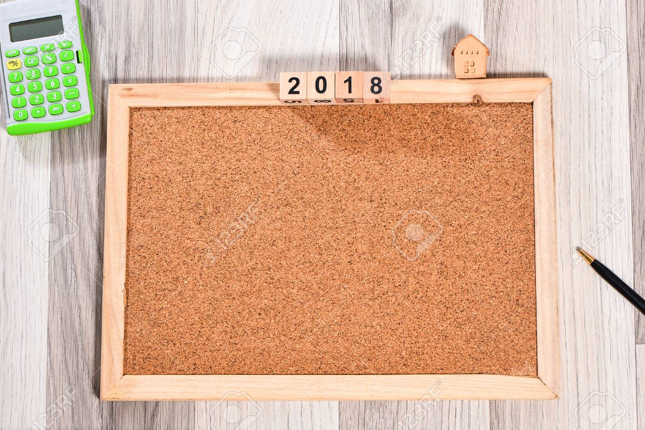 The cork board with wooden frame and 2018 new years cubes for the cork board with wooden frame and 2018 new years cubes for add text stock photo jeuxipadfo Gallery