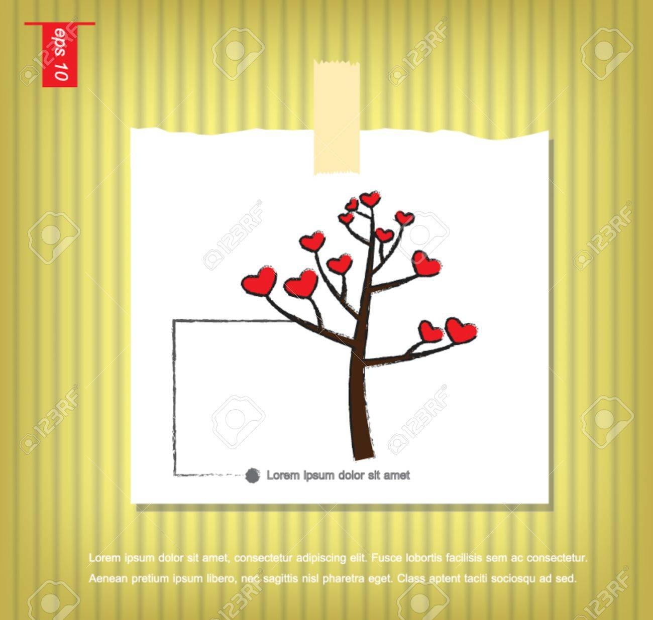 Tree And Heart Icon Vector In Note Papers With A Sticky Tape ...