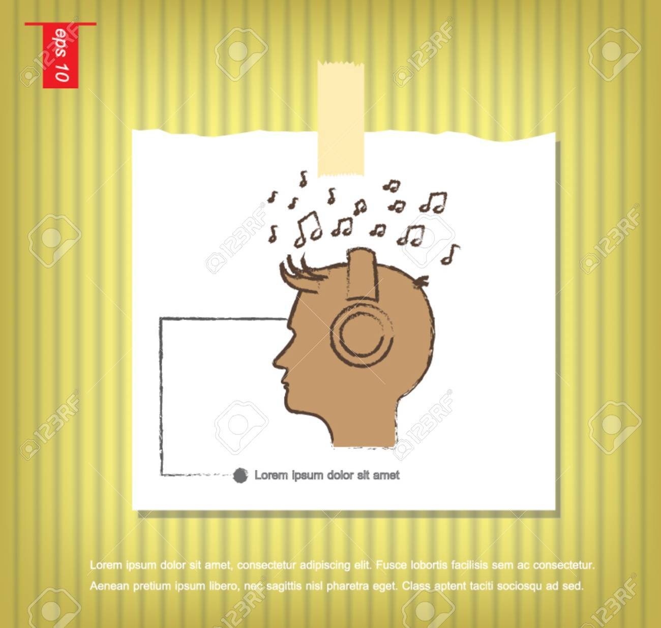 Man Listening To Music Icon Vector In Note Papers With A Sticky ...