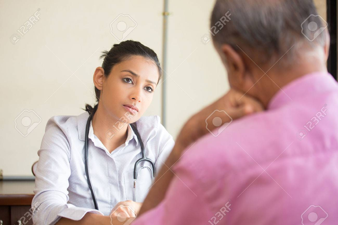 Closeup portrait, patient talking serious conversation to healthcare professional, isolated indoors background - 51897797