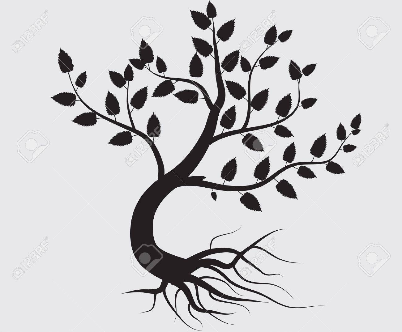 Tree Of Life Clip Art Black And White Vector - whole black tree with