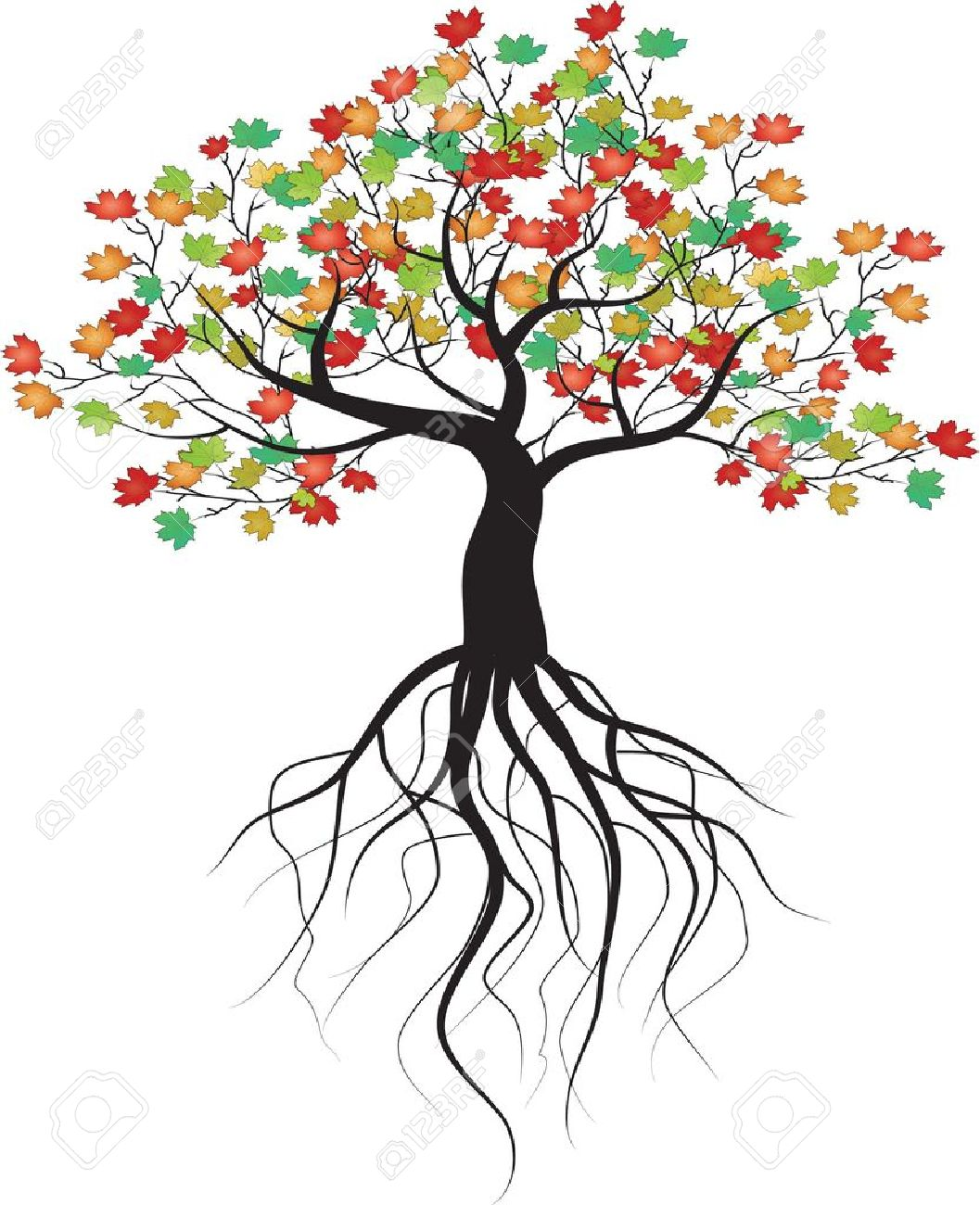 whole black tree with roots  Tree With Roots Clipart Outline