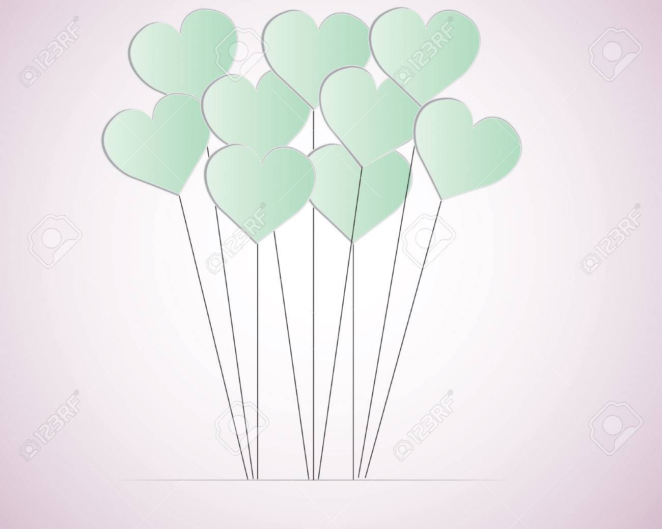 Valentines Day Heart Balloons on white Background Stock Vector - 23408315