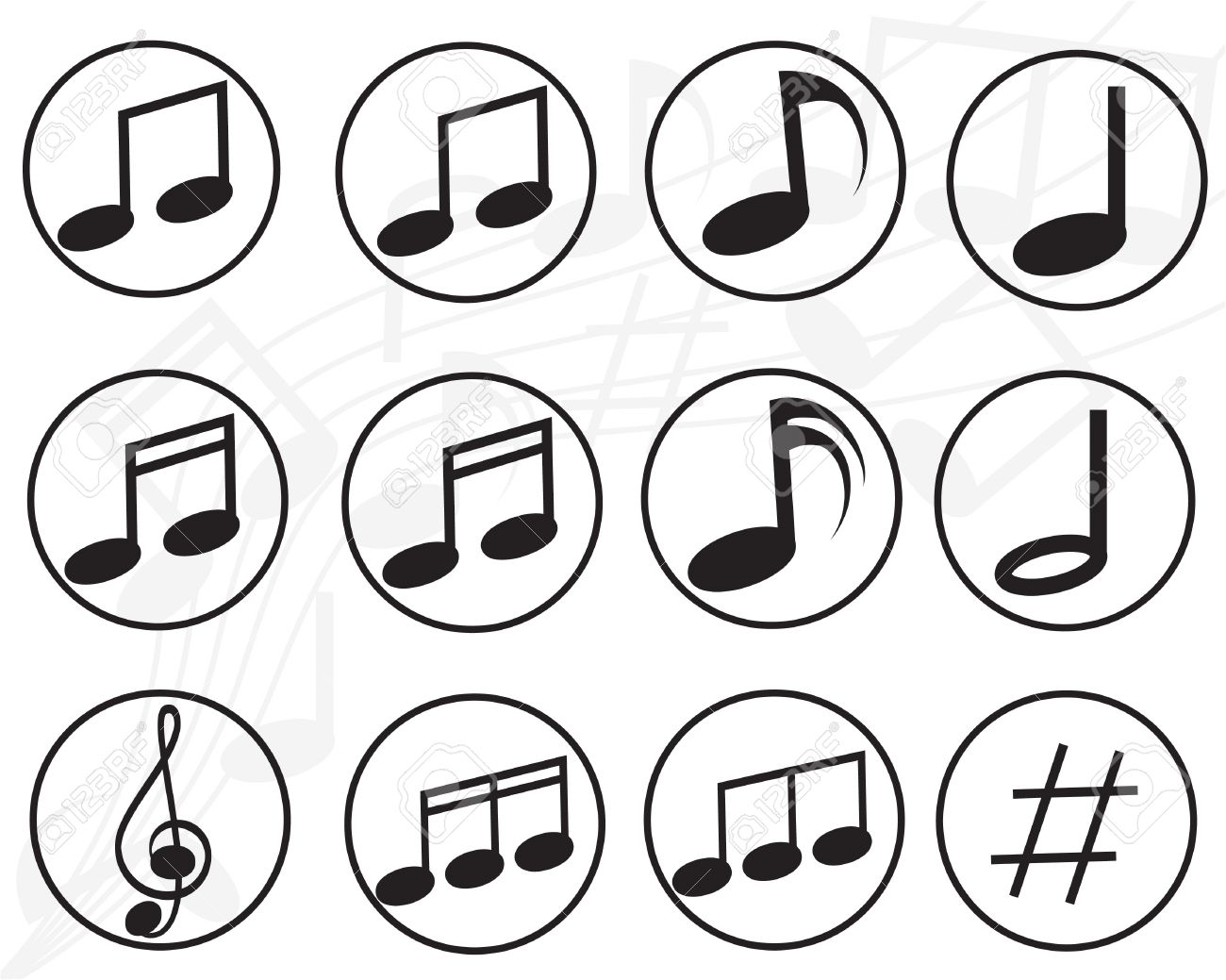 Music Note Sign Icon Musical Symbol Buttons Vector Royalty Free