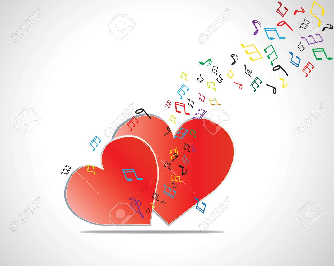 Happy Valentines Day Card With Heart Music Notes Vector – Musical Valentines Day Cards