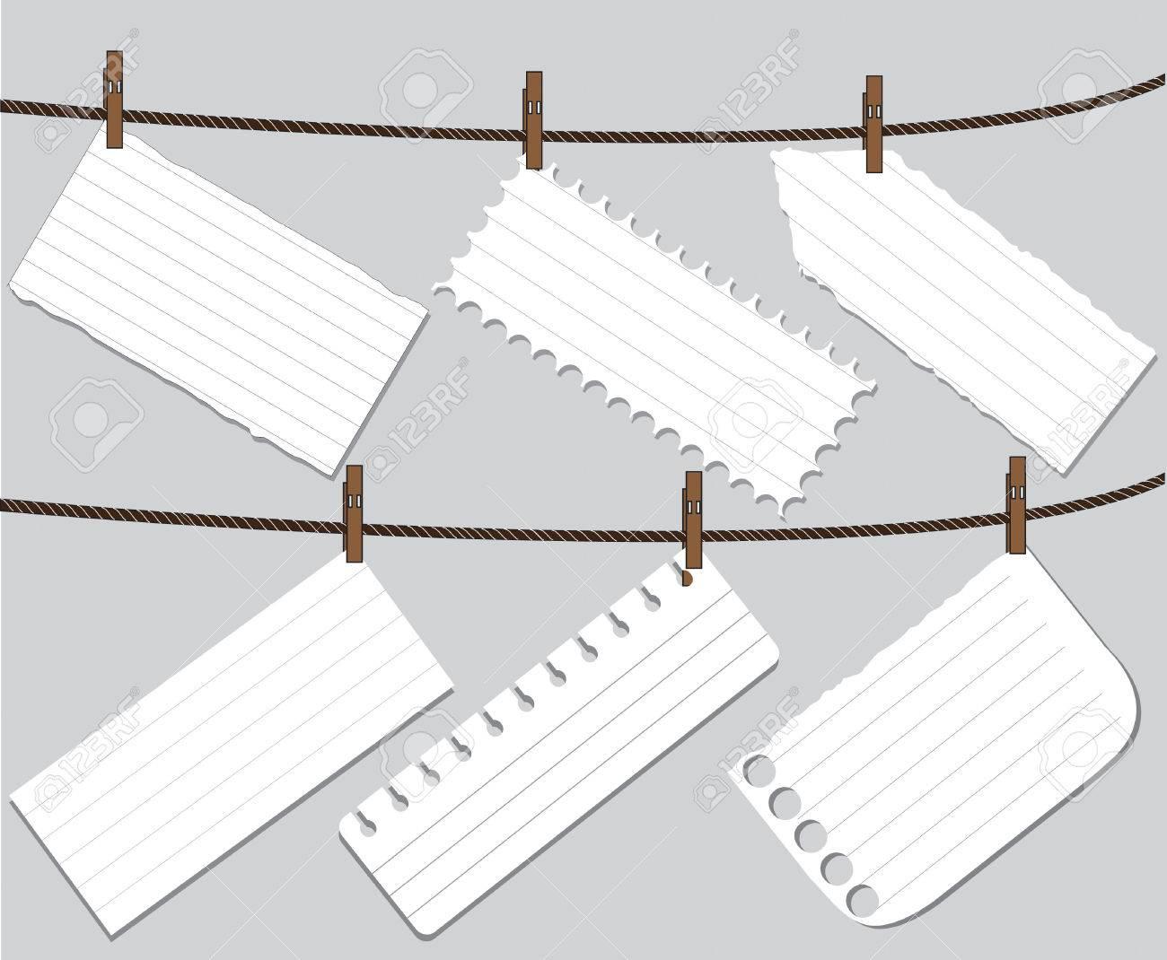 Leeres Arbeitsblatt Hinweis Papier Auf Einer Wäscheleine Mit Stift ...