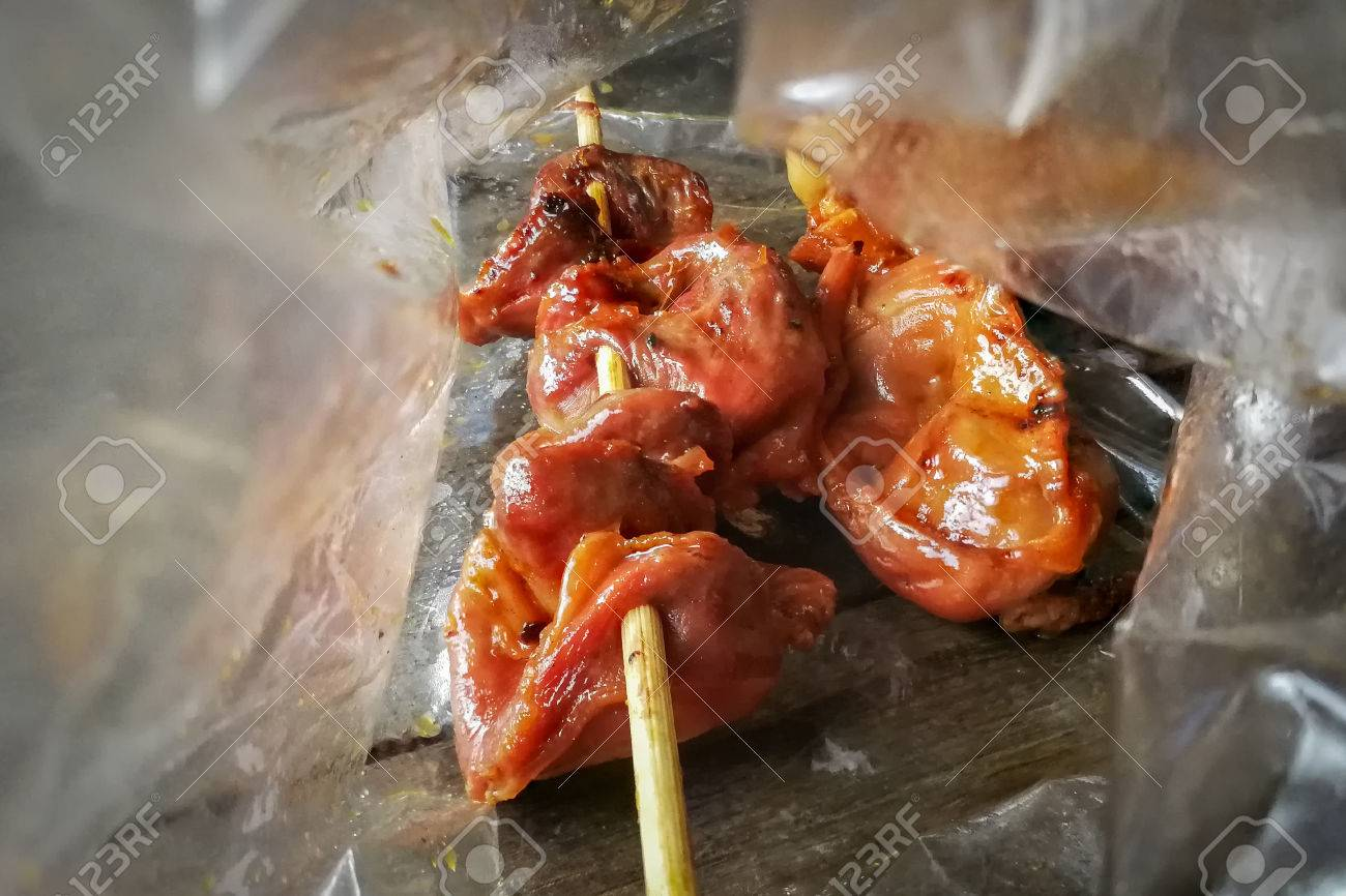 Many chicken grill and chicken internal organs grill put it stock many chicken grill and chicken internal organs grill put it in a bag stock photo ccuart Choice Image